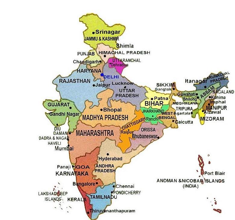 India Politica Cartina.Birmania